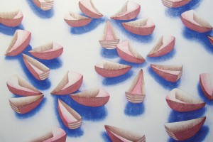 """集うボート"" 水性木版 越前鳥の子紙 2010 ""Boats getting-together"" woodcut, Echizen Torinoko paper 2010"